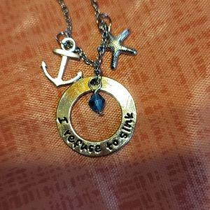 NWOT I refuse to sink with charms and blue sparkly